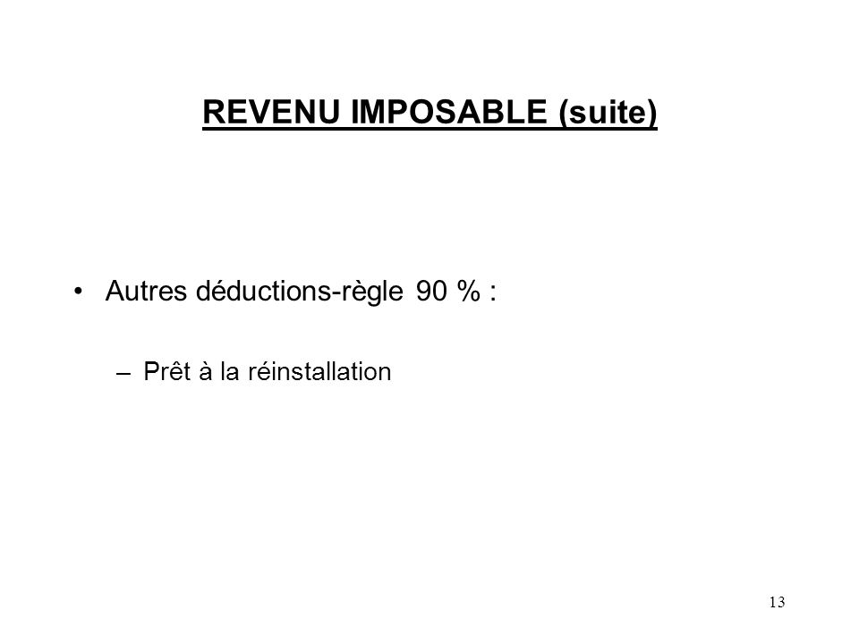REVENU IMPOSABLE (suite)