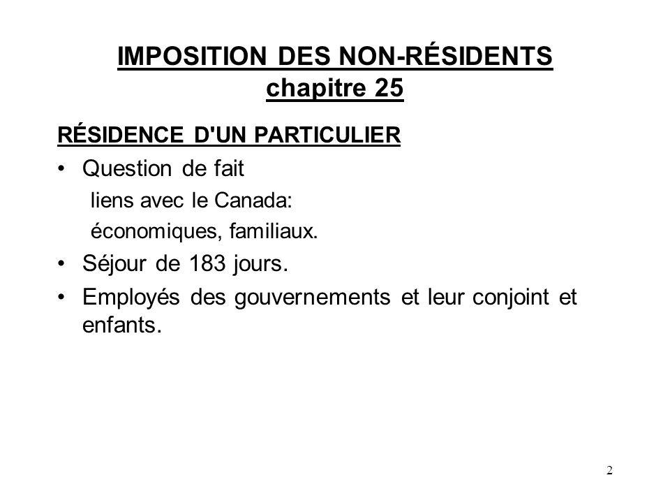 IMPOSITION DES NON-RÉSIDENTS chapitre 25