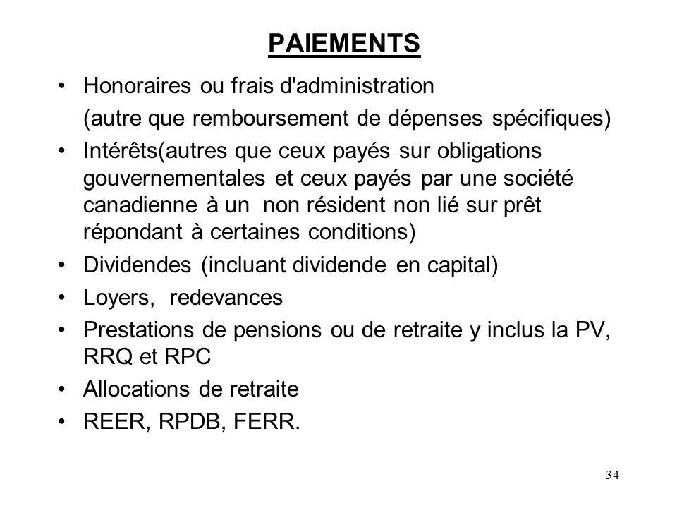 PAIEMENTS Honoraires ou frais d administration
