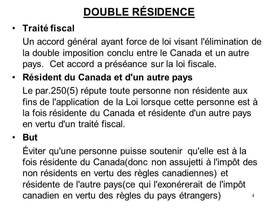 DOUBLE RÉSIDENCE Traité fiscal