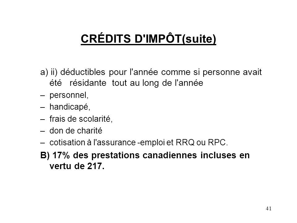 CRÉDITS D IMPÔT(suite)
