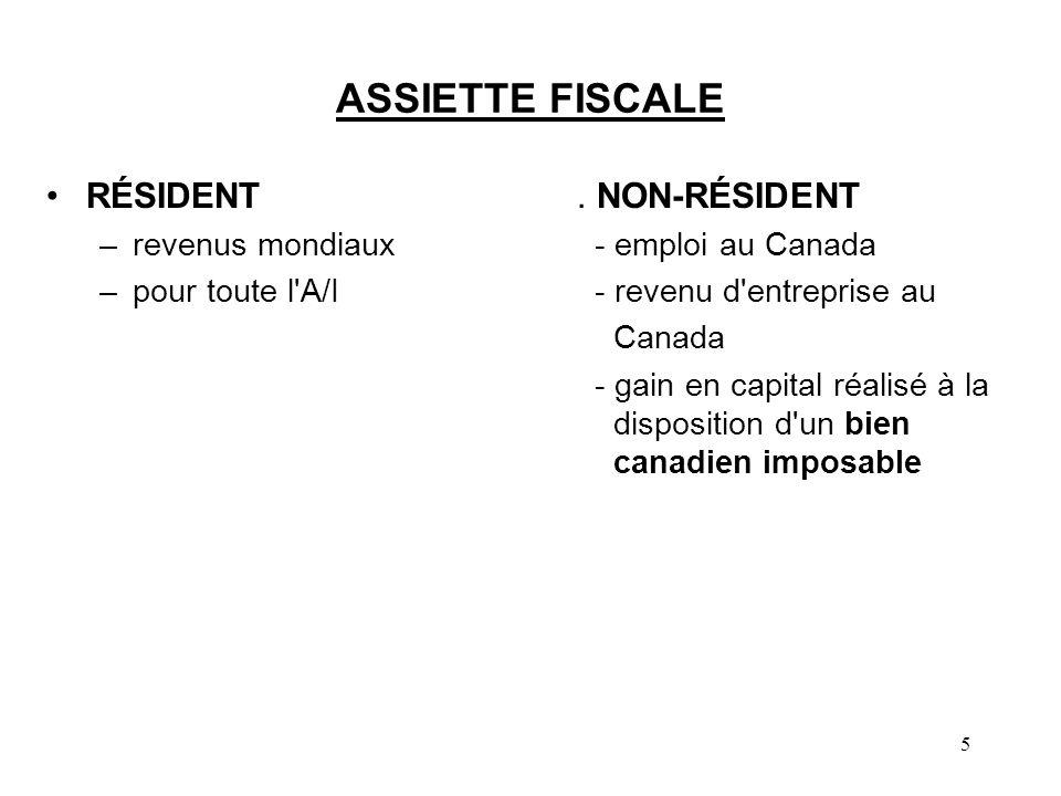 ASSIETTE FISCALE RÉSIDENT . NON-RÉSIDENT