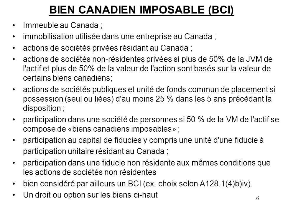 BIEN CANADIEN IMPOSABLE (BCI)