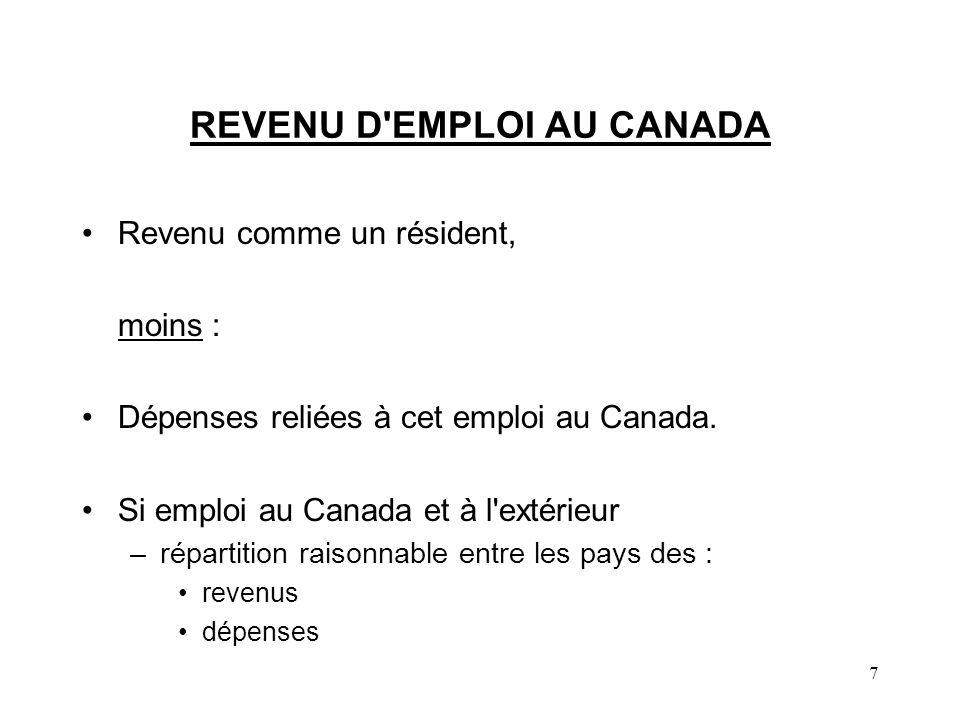REVENU D EMPLOI AU CANADA