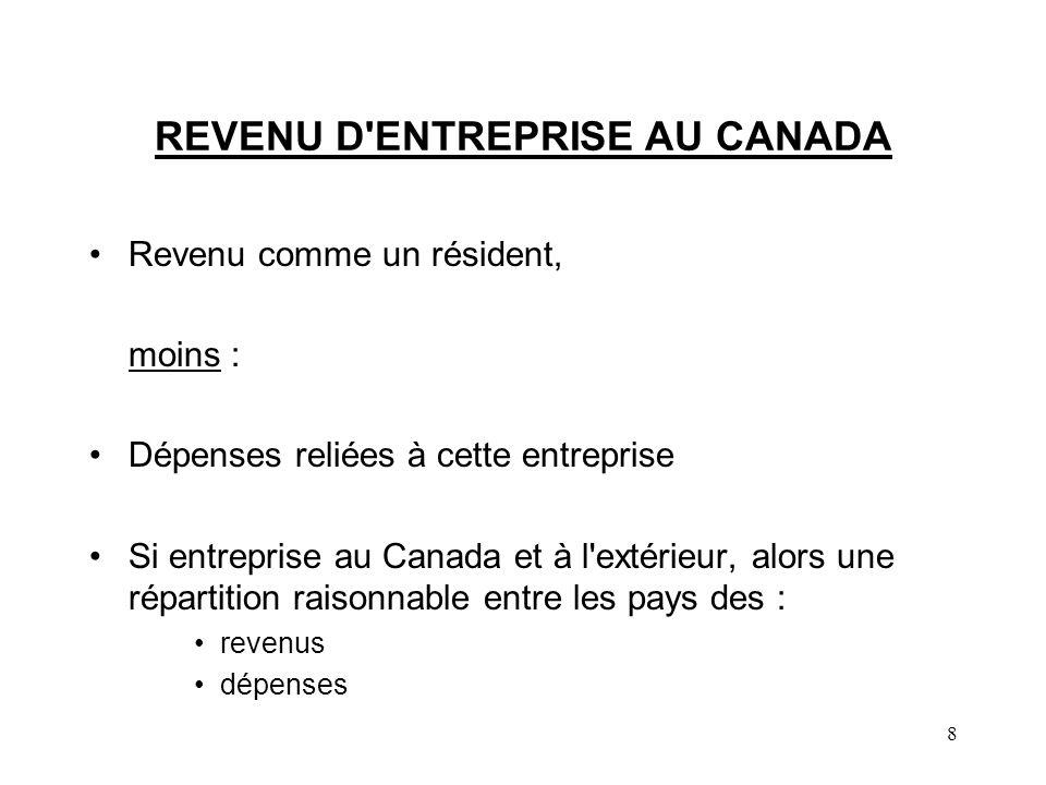 REVENU D ENTREPRISE AU CANADA