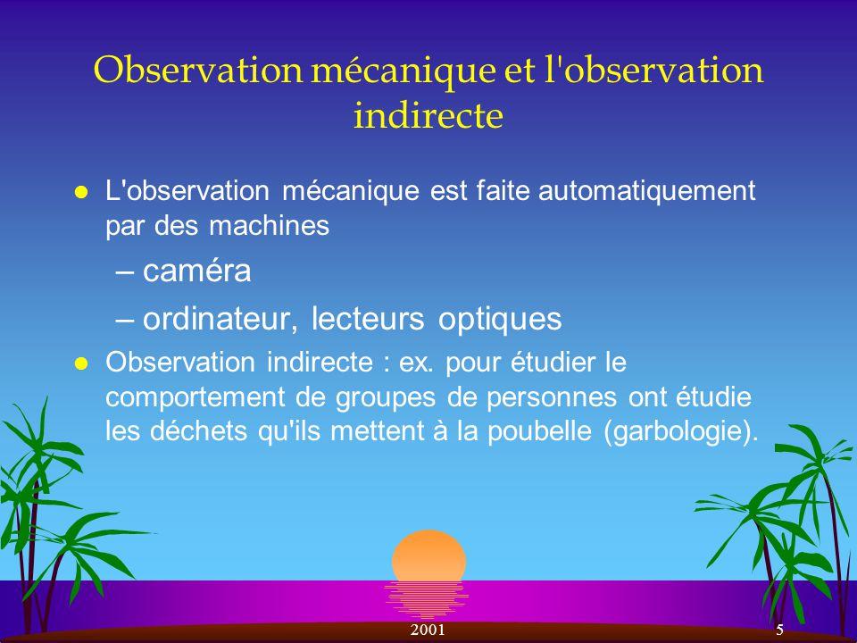 Observation mécanique et l observation indirecte
