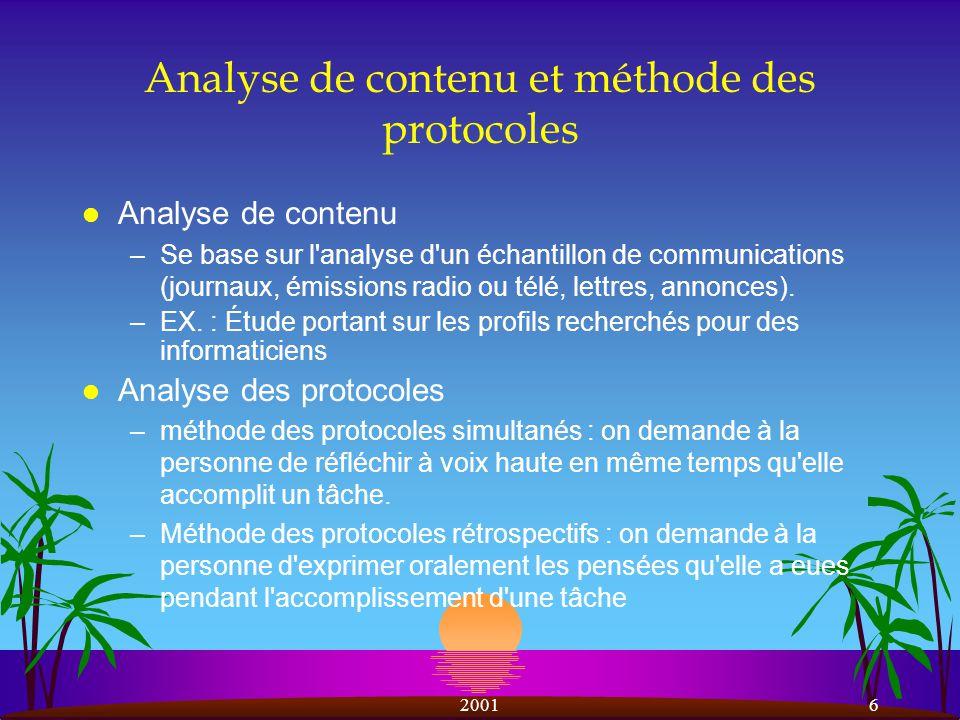 Analyse de contenu et méthode des protocoles