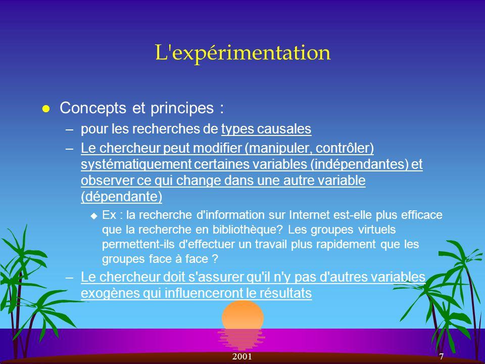 L expérimentation Concepts et principes :