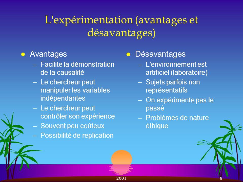 L expérimentation (avantages et désavantages)