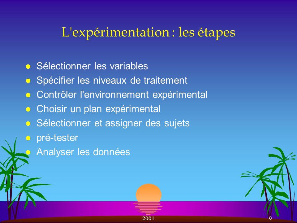 L expérimentation : les étapes