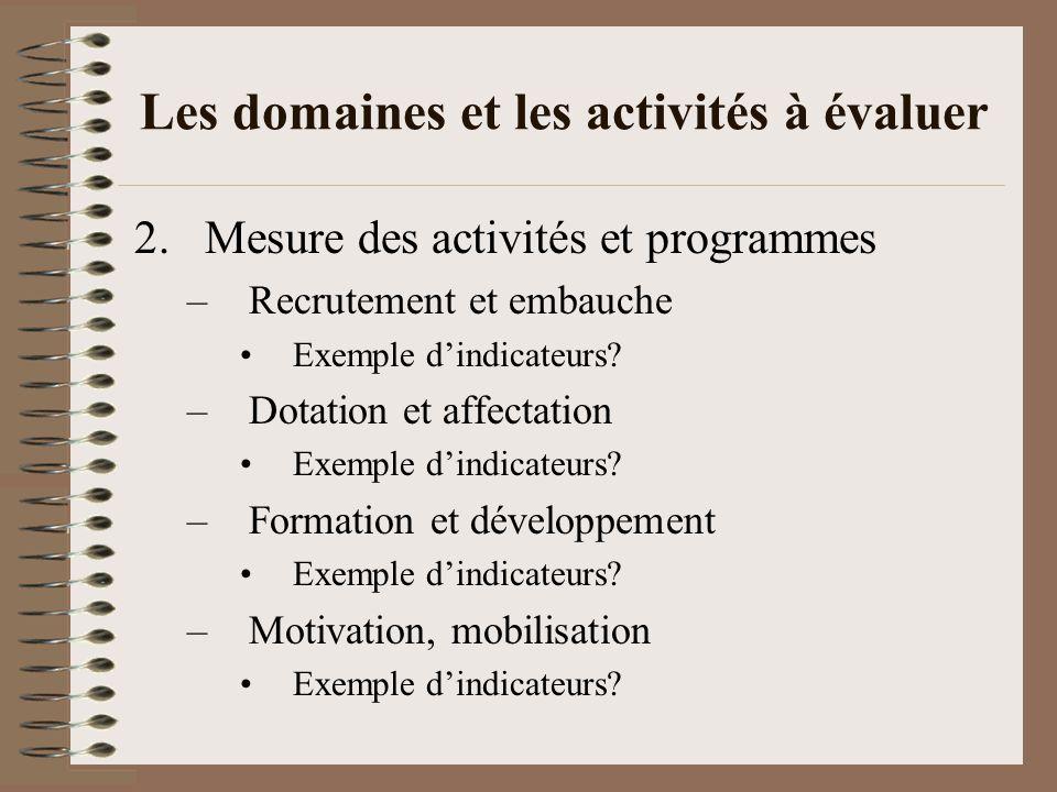 Les domaines et les activités à évaluer