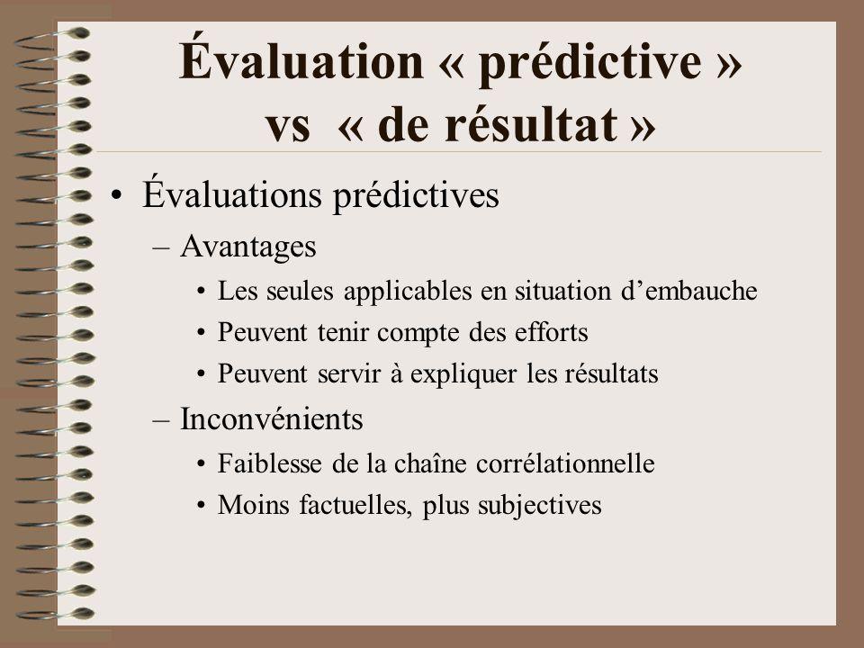 Évaluation « prédictive » vs « de résultat »