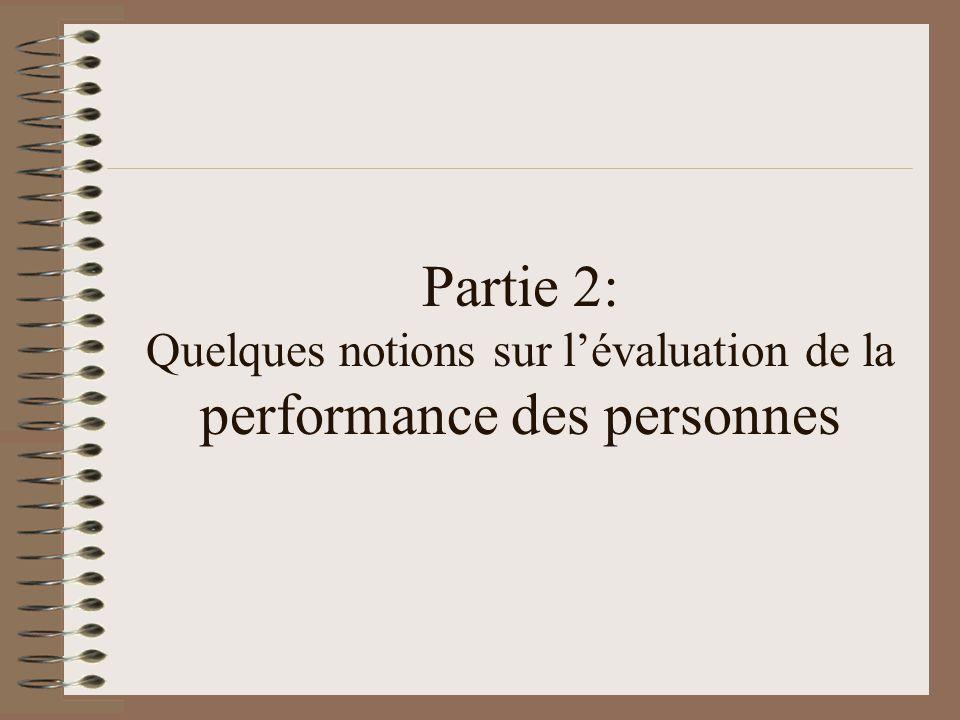 Partie 2: Quelques notions sur l'évaluation de la performance des personnes