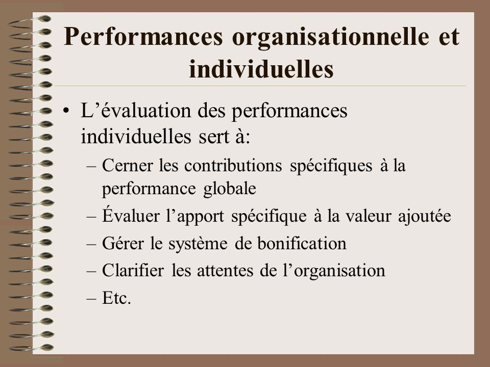 Performances organisationnelle et individuelles