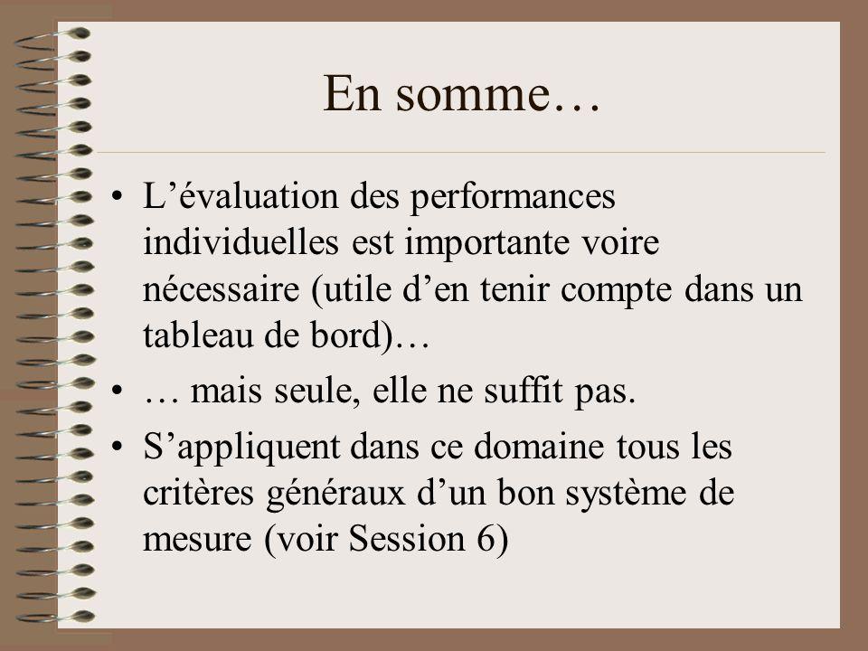 En somme… L'évaluation des performances individuelles est importante voire nécessaire (utile d'en tenir compte dans un tableau de bord)…