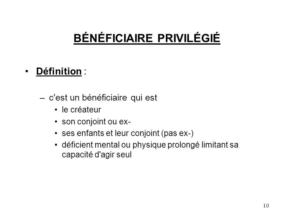 BÉNÉFICIAIRE PRIVILÉGIÉ