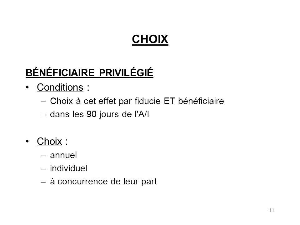 CHOIX BÉNÉFICIAIRE PRIVILÉGIÉ Conditions : Choix :