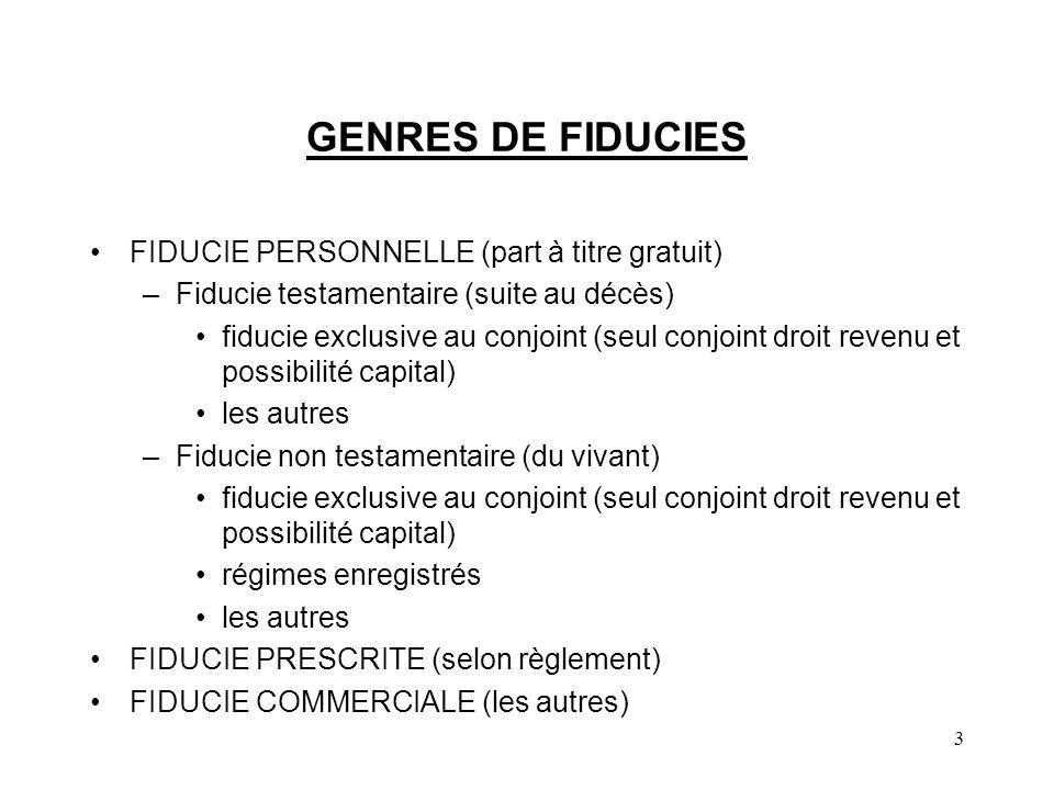 GENRES DE FIDUCIES FIDUCIE PERSONNELLE (part à titre gratuit)