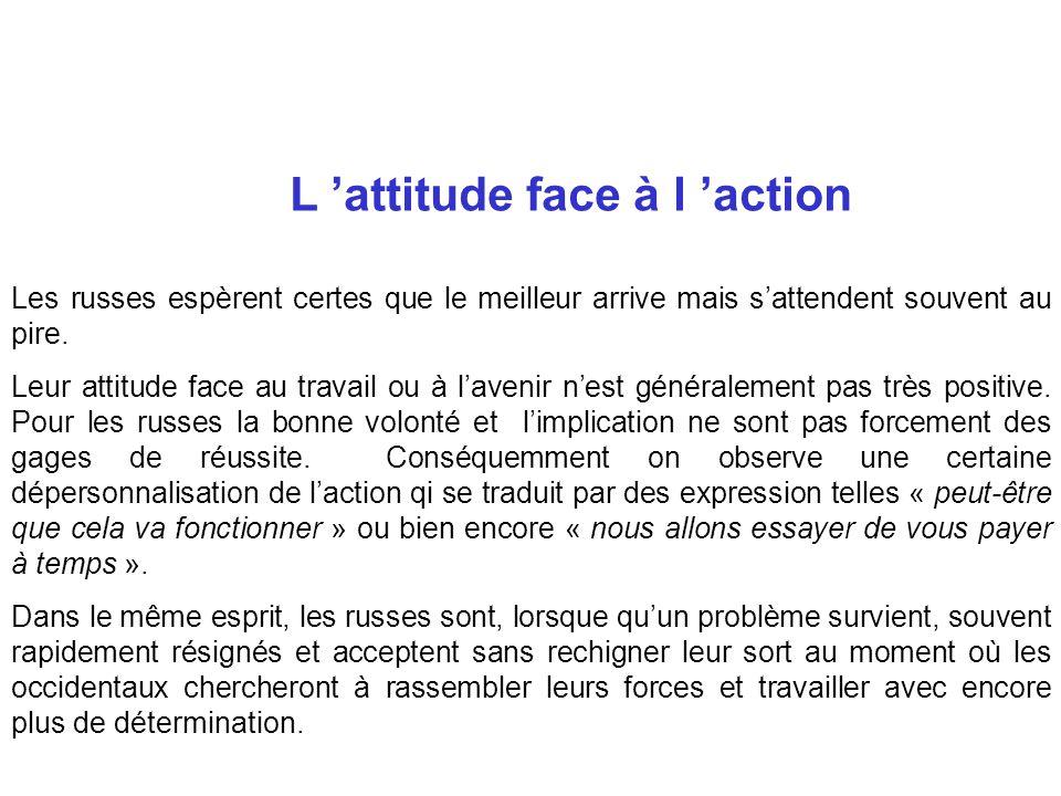 L 'attitude face à l 'action