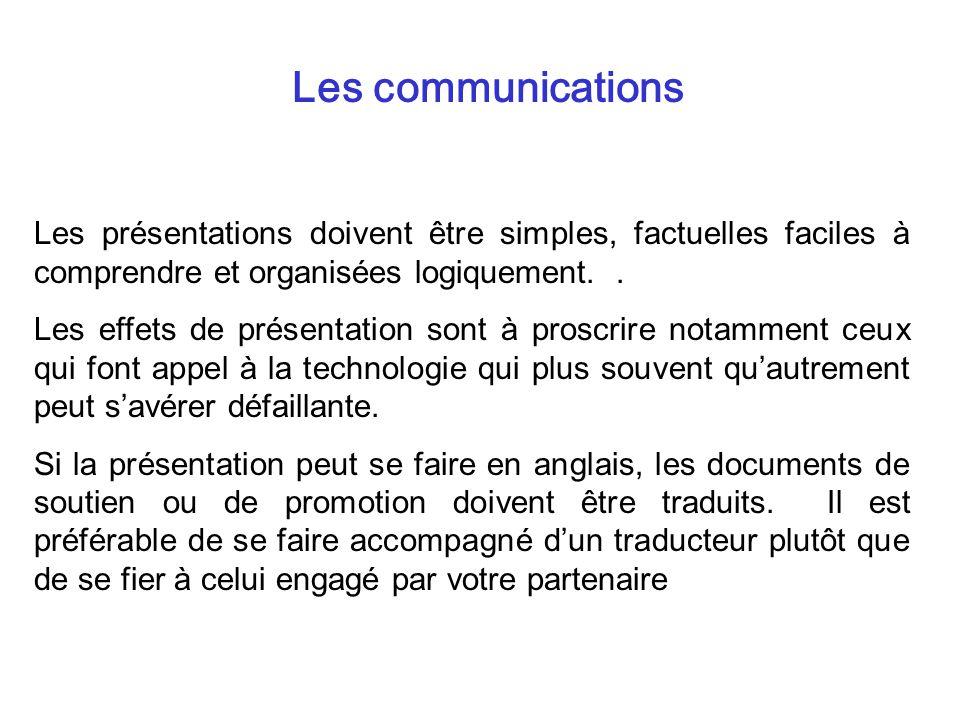 Les communications Les présentations doivent être simples, factuelles faciles à comprendre et organisées logiquement. .