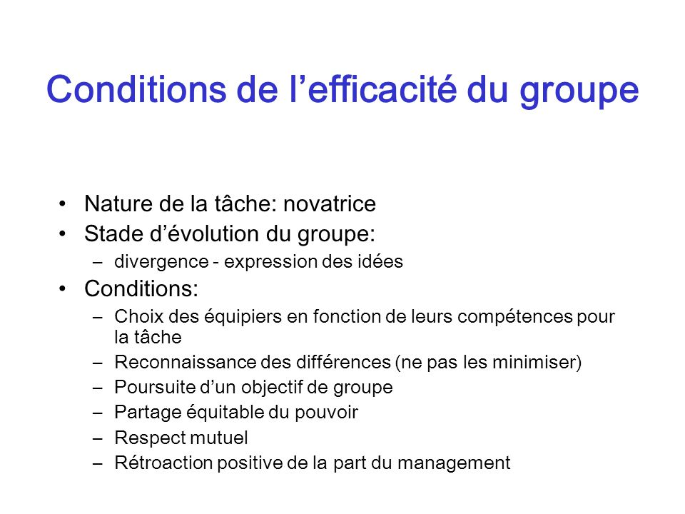 Conditions de l'efficacité du groupe