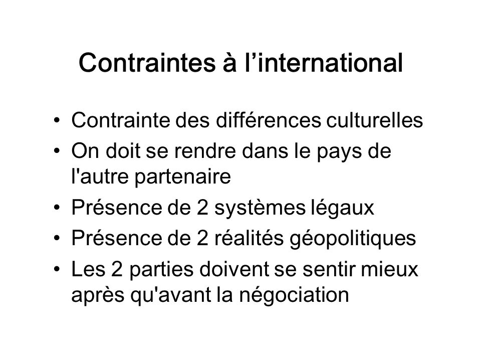 Contraintes à l'international