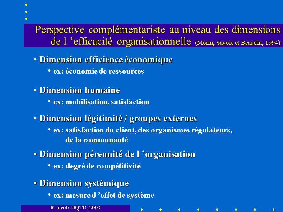Perspective complémentariste au niveau des dimensions de l 'efficacité organisationnelle (Morin, Savoie et Beaudin, 1994)