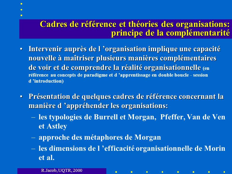 Cadres de référence et théories des organisations: principe de la complémentarité