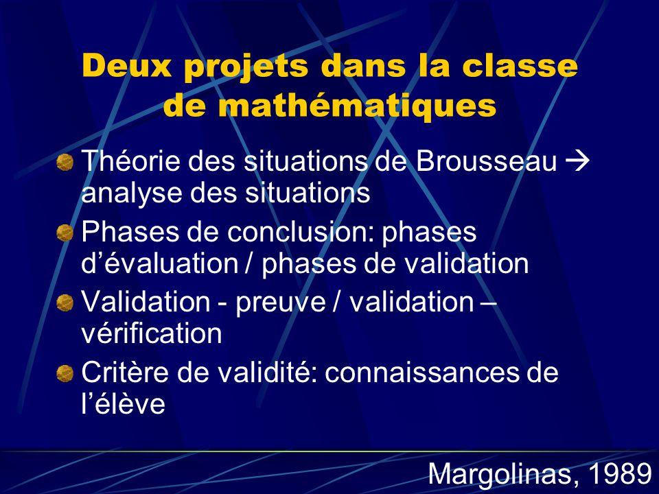 Deux projets dans la classe de mathématiques