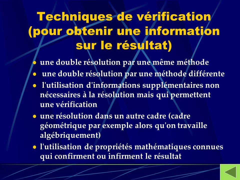 Techniques de vérification (pour obtenir une information sur le résultat)