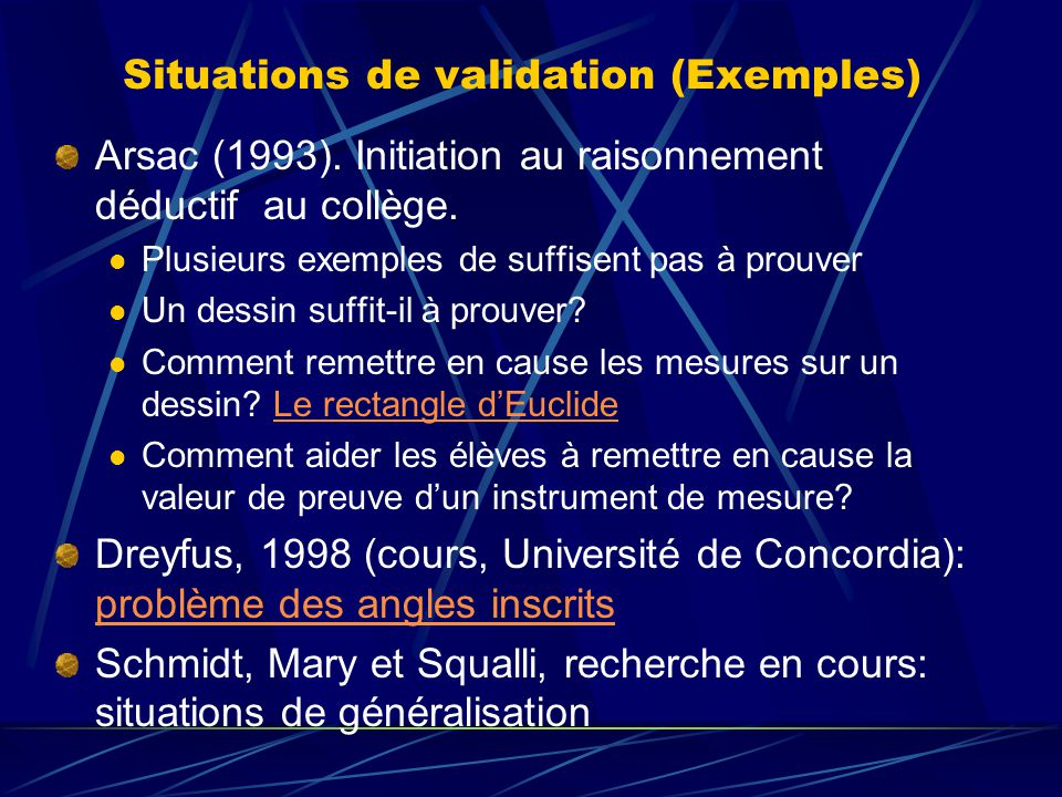 Situations de validation (Exemples)
