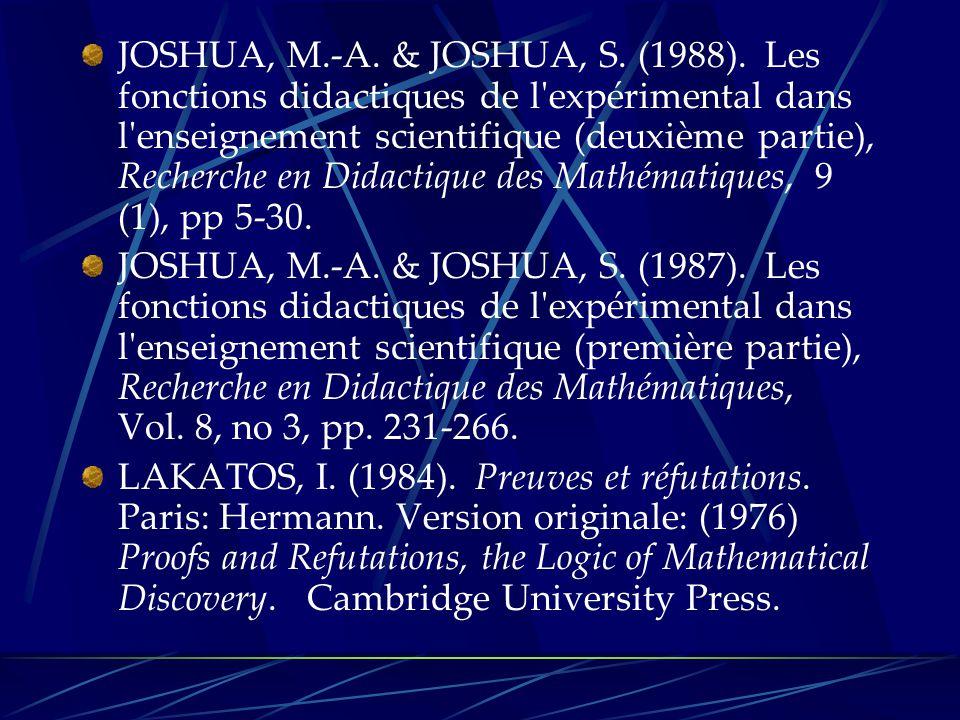 JOSHUA, M.-A. & JOSHUA, S. (1988). Les fonctions didactiques de l expérimental dans l enseignement scientifique (deuxième partie), Recherche en Didactique des Mathématiques, 9 (1), pp 5-30.