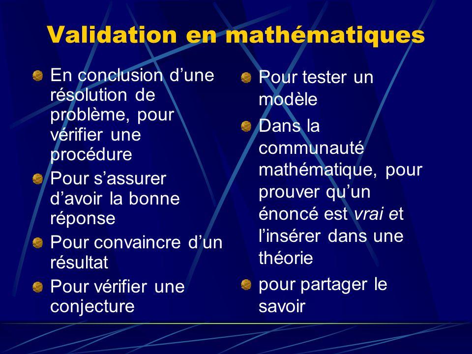 Validation en mathématiques