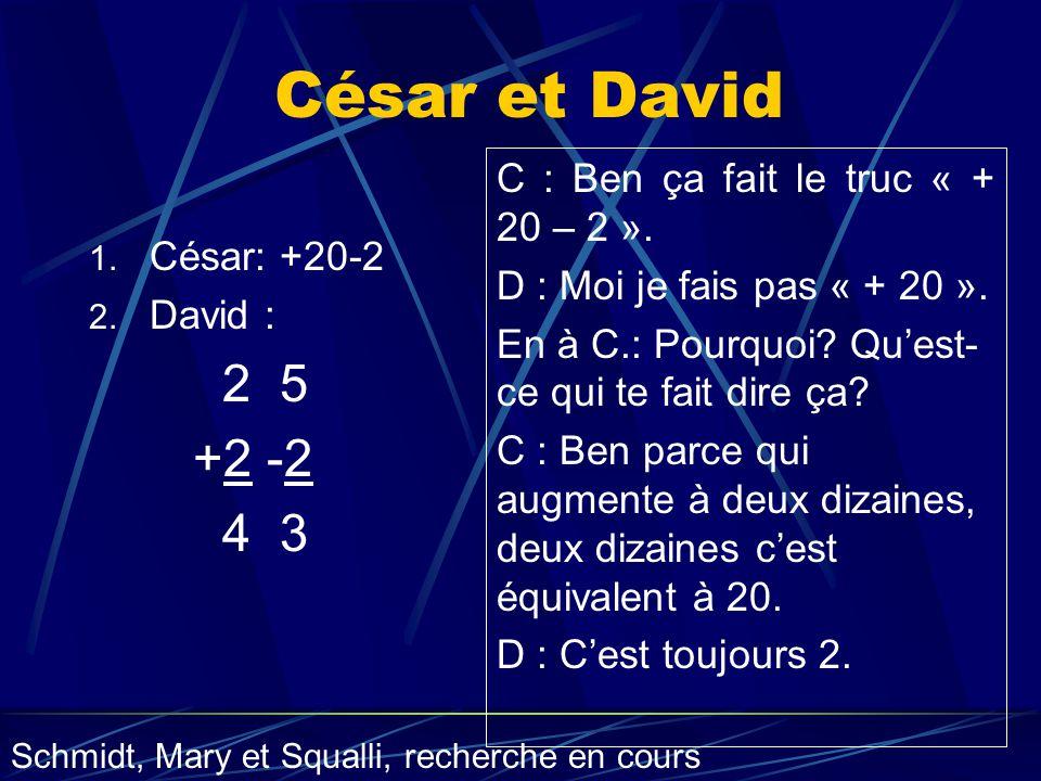 César et David 2 5 +2 -2 4 3 C : Ben ça fait le truc « + 20 – 2 ».