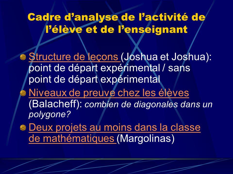 Cadre d'analyse de l'activité de l'élève et de l'enseignant