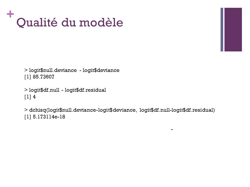 Qualité du modèle - > logit$null.deviance - logit$deviance