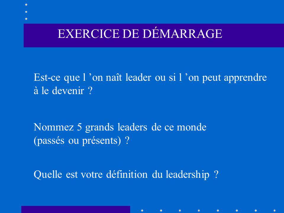 EXERCICE DE DÉMARRAGE Est-ce que l 'on naît leader ou si l 'on peut apprendre. à le devenir Nommez 5 grands leaders de ce monde.