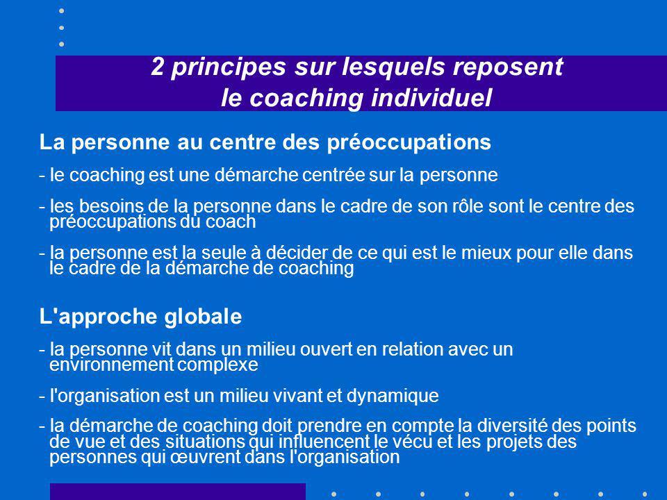 2 principes sur lesquels reposent le coaching individuel
