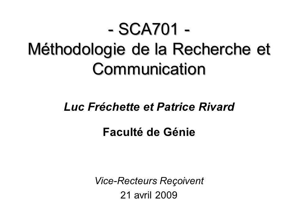 - SCA701 - Méthodologie de la Recherche et Communication