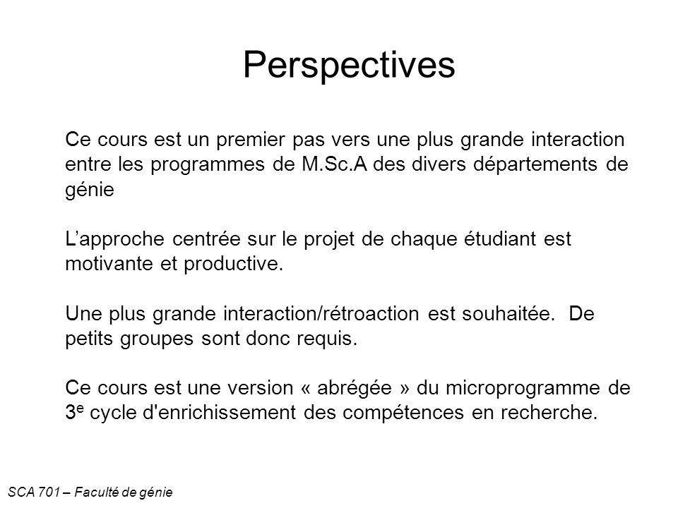Perspectives Ce cours est un premier pas vers une plus grande interaction entre les programmes de M.Sc.A des divers départements de génie.