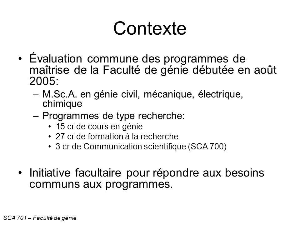 Contexte Évaluation commune des programmes de maîtrise de la Faculté de génie débutée en août 2005: