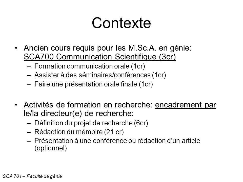 Contexte Ancien cours requis pour les M.Sc.A. en génie: SCA700 Communication Scientifique (3cr) Formation communication orale (1cr)