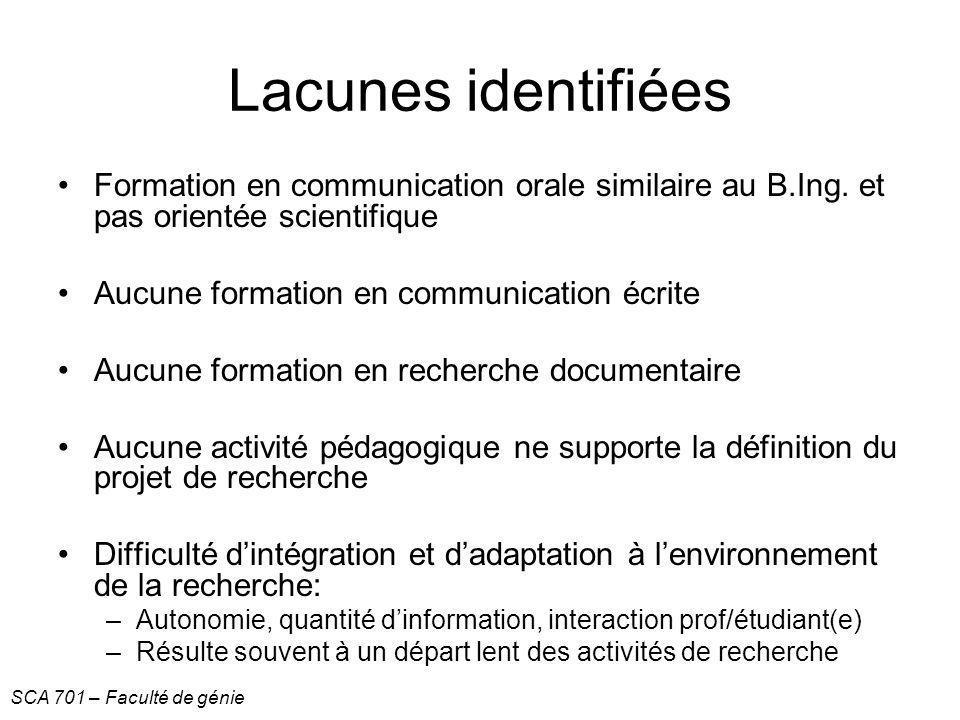 Lacunes identifiées Formation en communication orale similaire au B.Ing. et pas orientée scientifique.