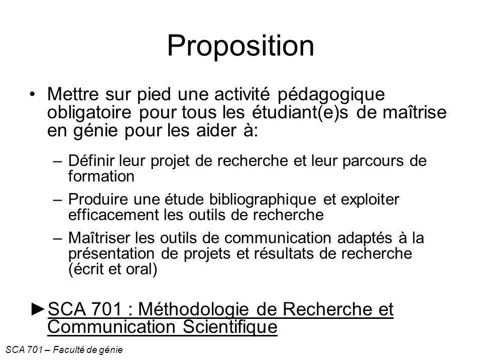 Proposition Mettre sur pied une activité pédagogique obligatoire pour tous les étudiant(e)s de maîtrise en génie pour les aider à: