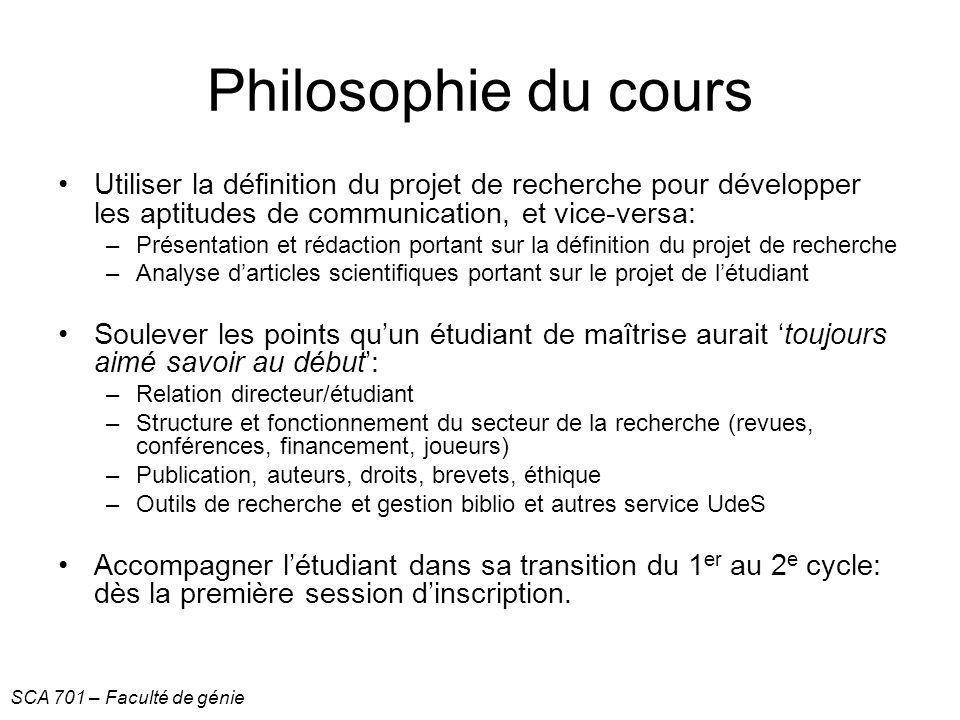 Philosophie du cours Utiliser la définition du projet de recherche pour développer les aptitudes de communication, et vice-versa: