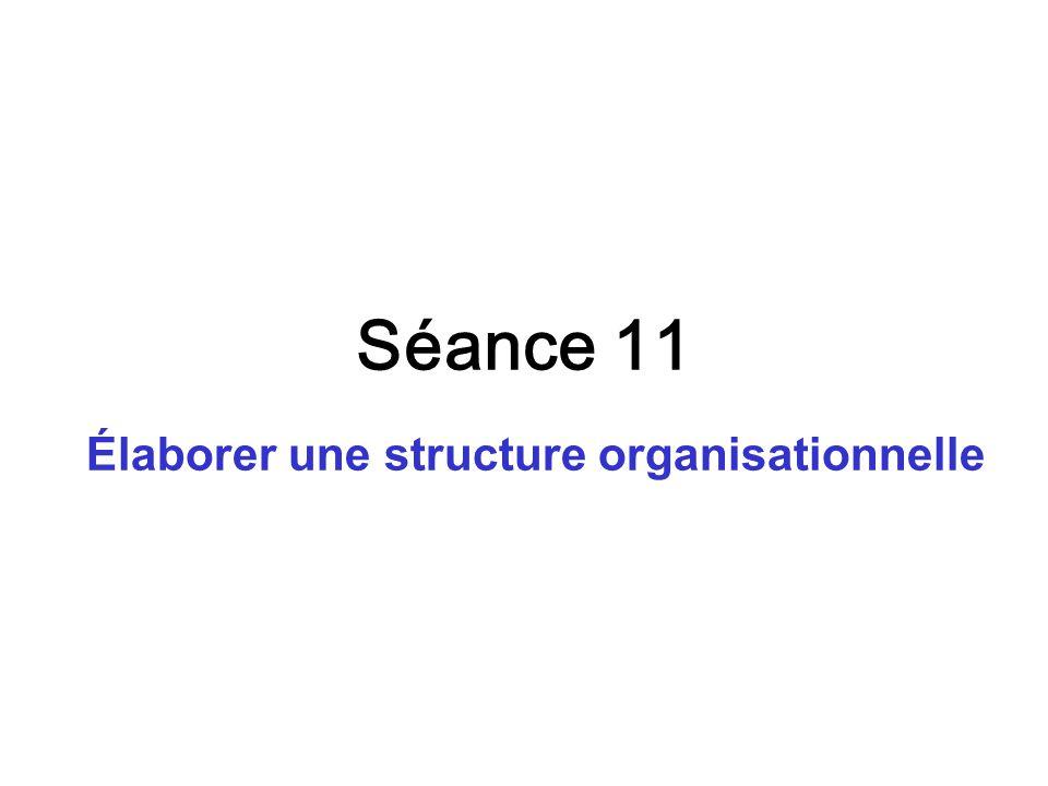 Séance 11 Élaborer une structure organisationnelle