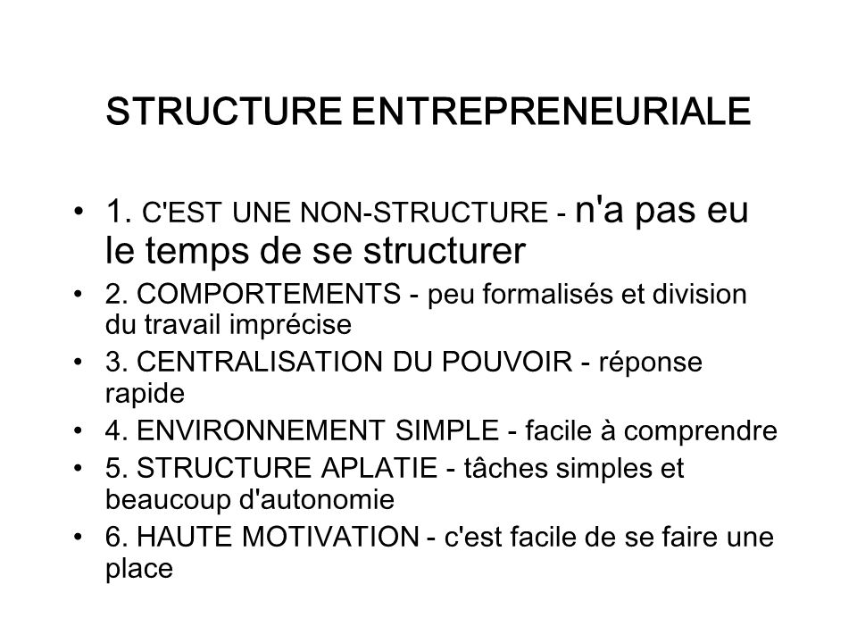 STRUCTURE ENTREPRENEURIALE