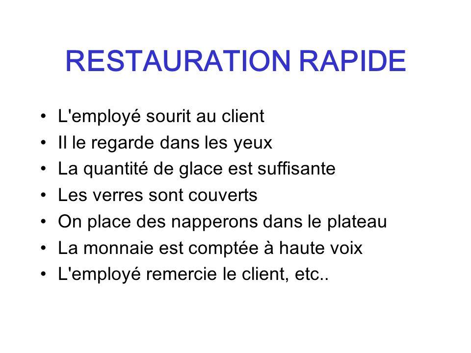 RESTAURATION RAPIDE L employé sourit au client