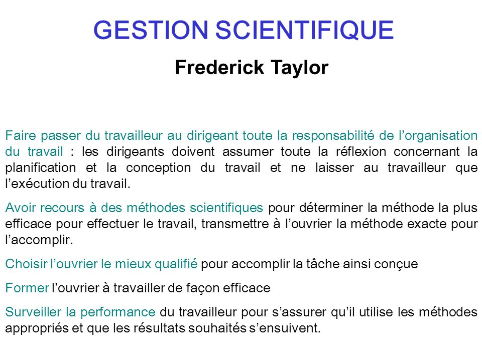 GESTION SCIENTIFIQUE Frederick Taylor