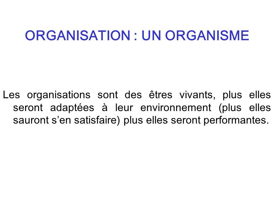 ORGANISATION : UN ORGANISME